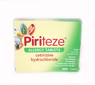 Piriteze Allergy Tablets (pack of 7) - 7 tablets