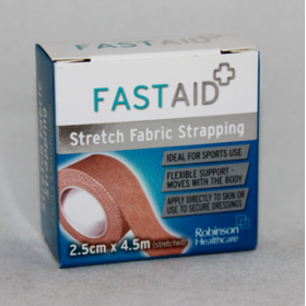 Fastaid Stretch Fabric Strapping - 2.5cm x 4.5m (stretched)